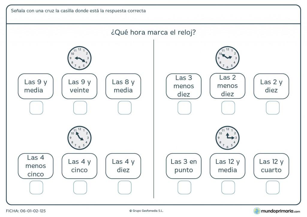 Ficha de horas en analógico para 4º de primaria