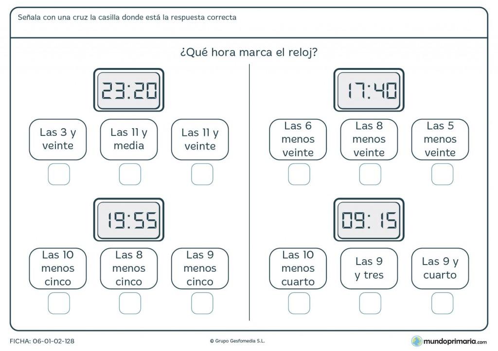Ficha de horas en digital para 4º de primaria