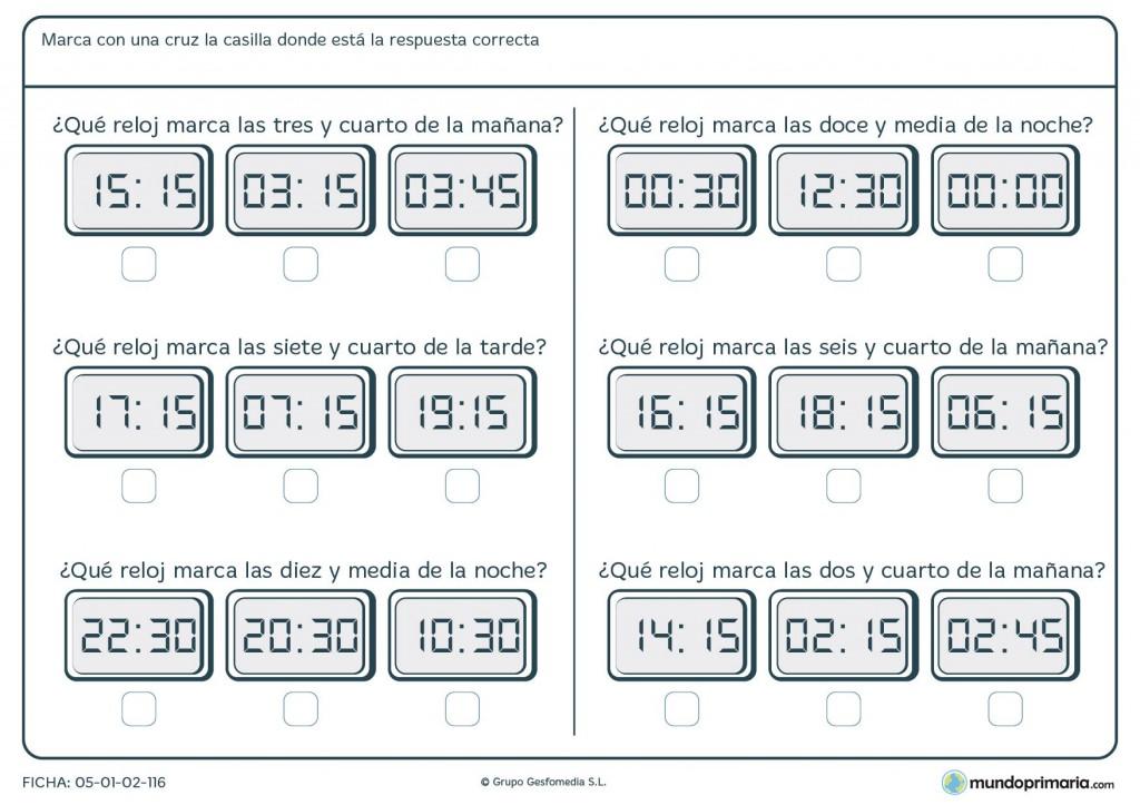 Ficha de horas en digital para primaria