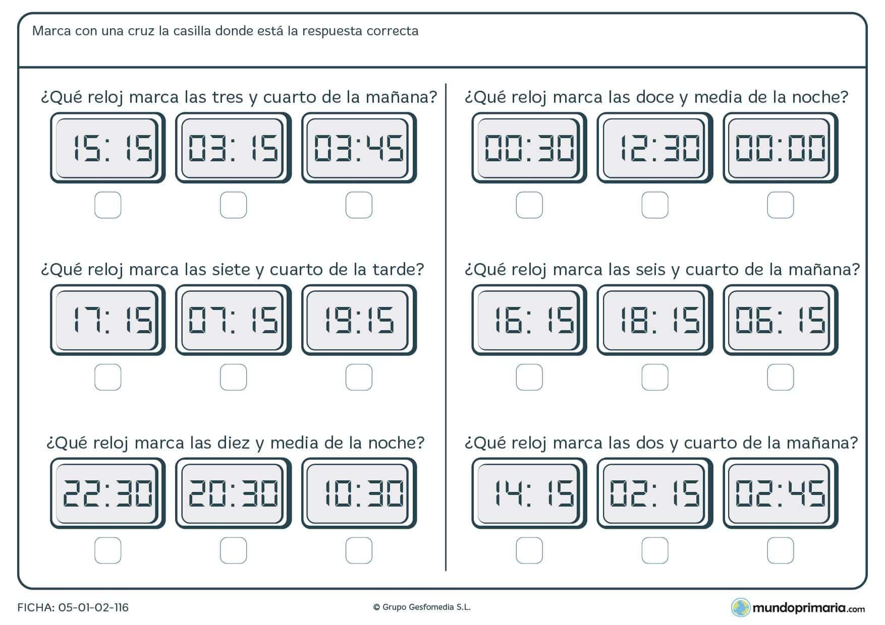 Ficha de horas en digital en la que se presentan 6 grupos de relojes digitales y tenemos que señalar la hora correcta.