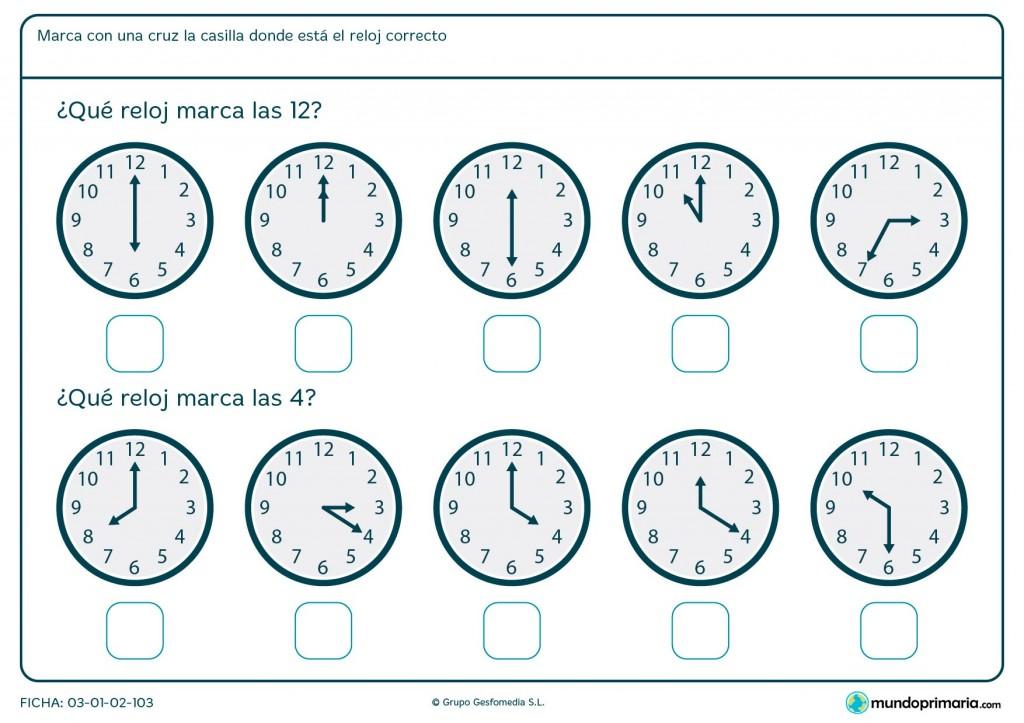 Ficha de horas en punto
