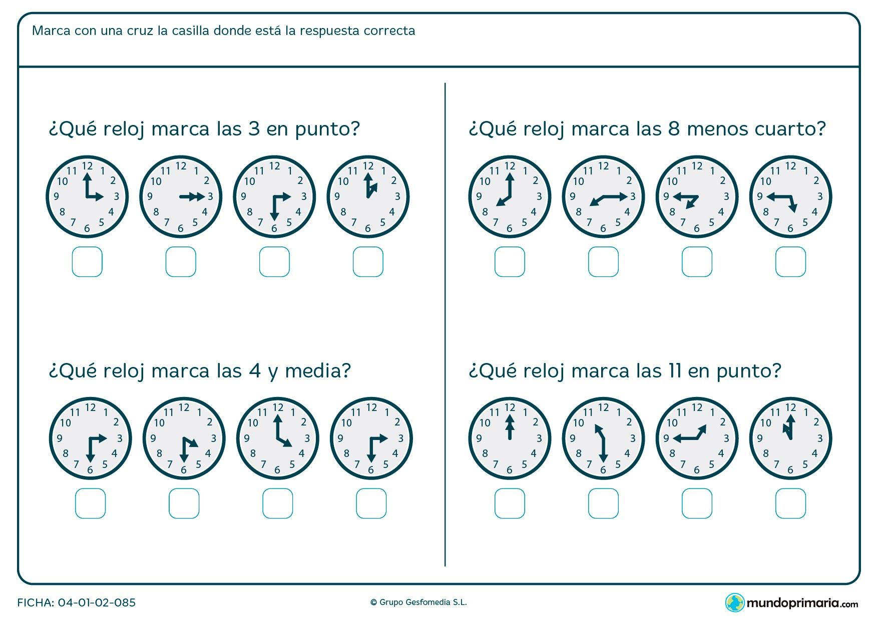 Ficha de horas en punto en la que debes elegir el reloj que la marque.