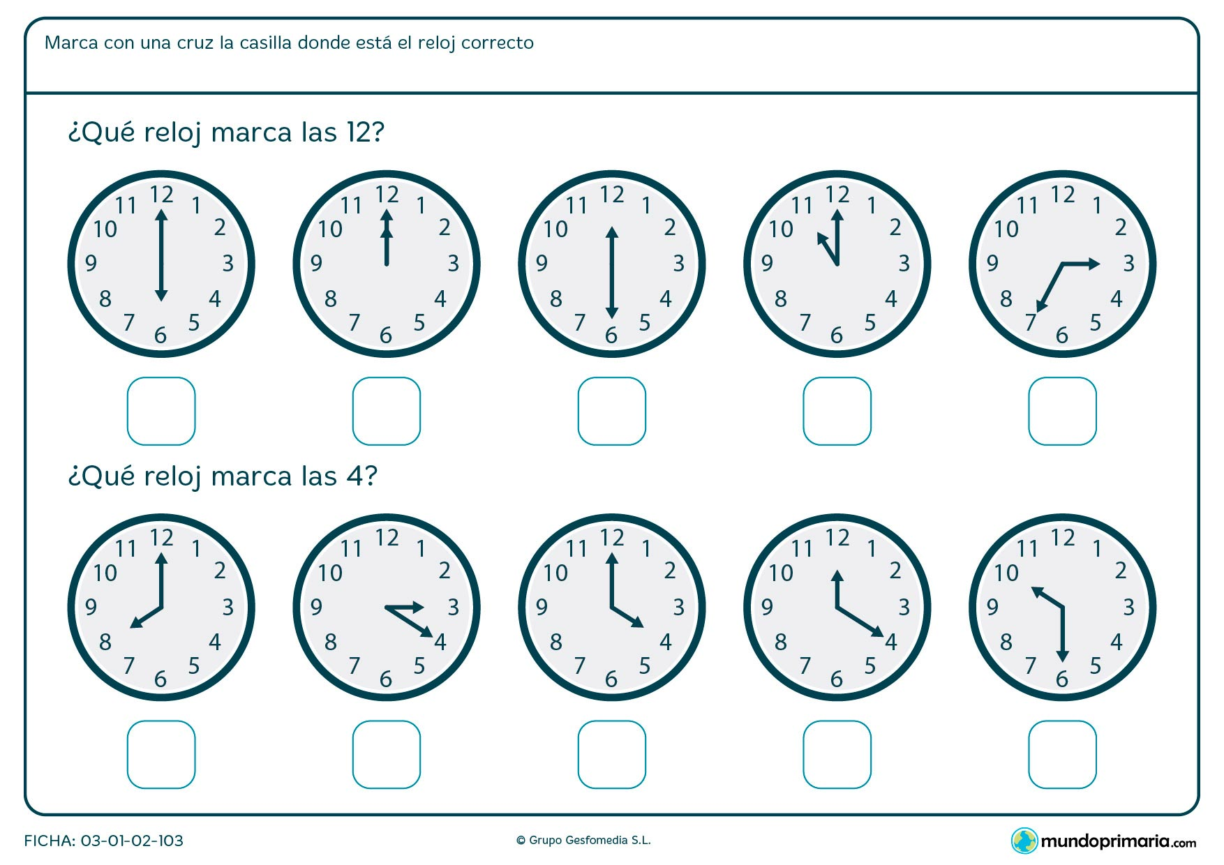 Ficha de horas en punto en la que tendrás que señalar los relojes que marcan las 12 y las 4 en punto.