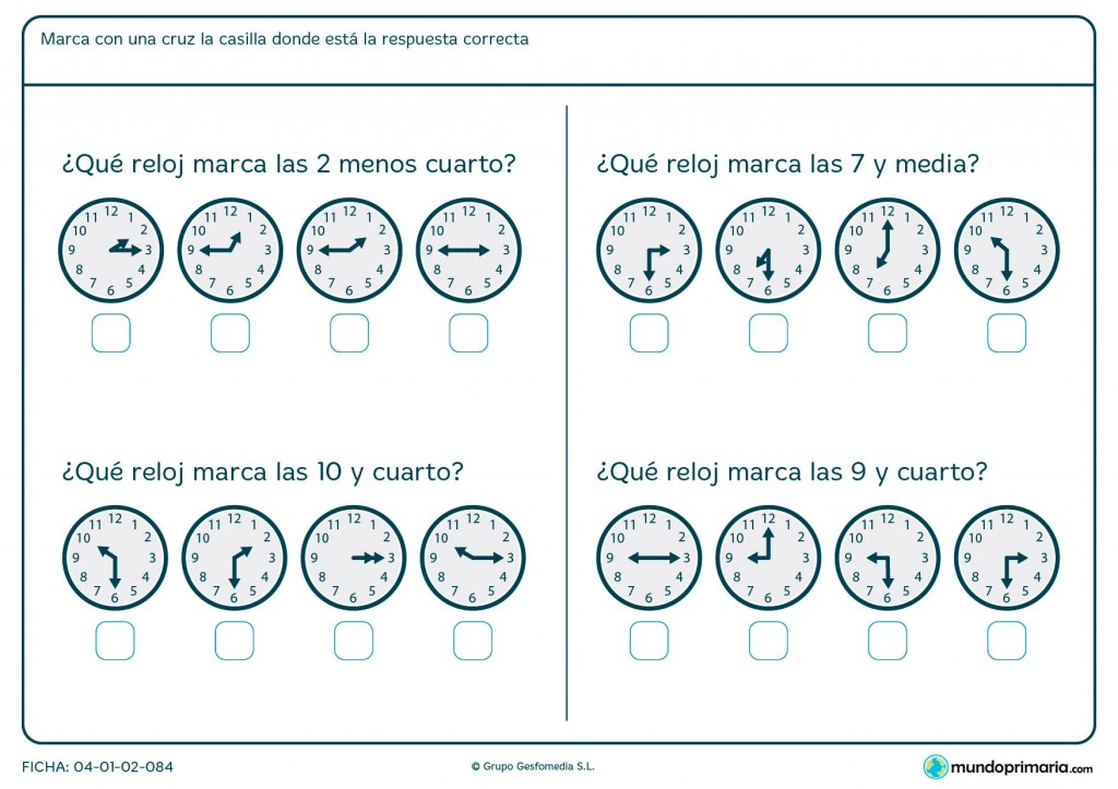 Ficha de horas menos cuarto para primaria