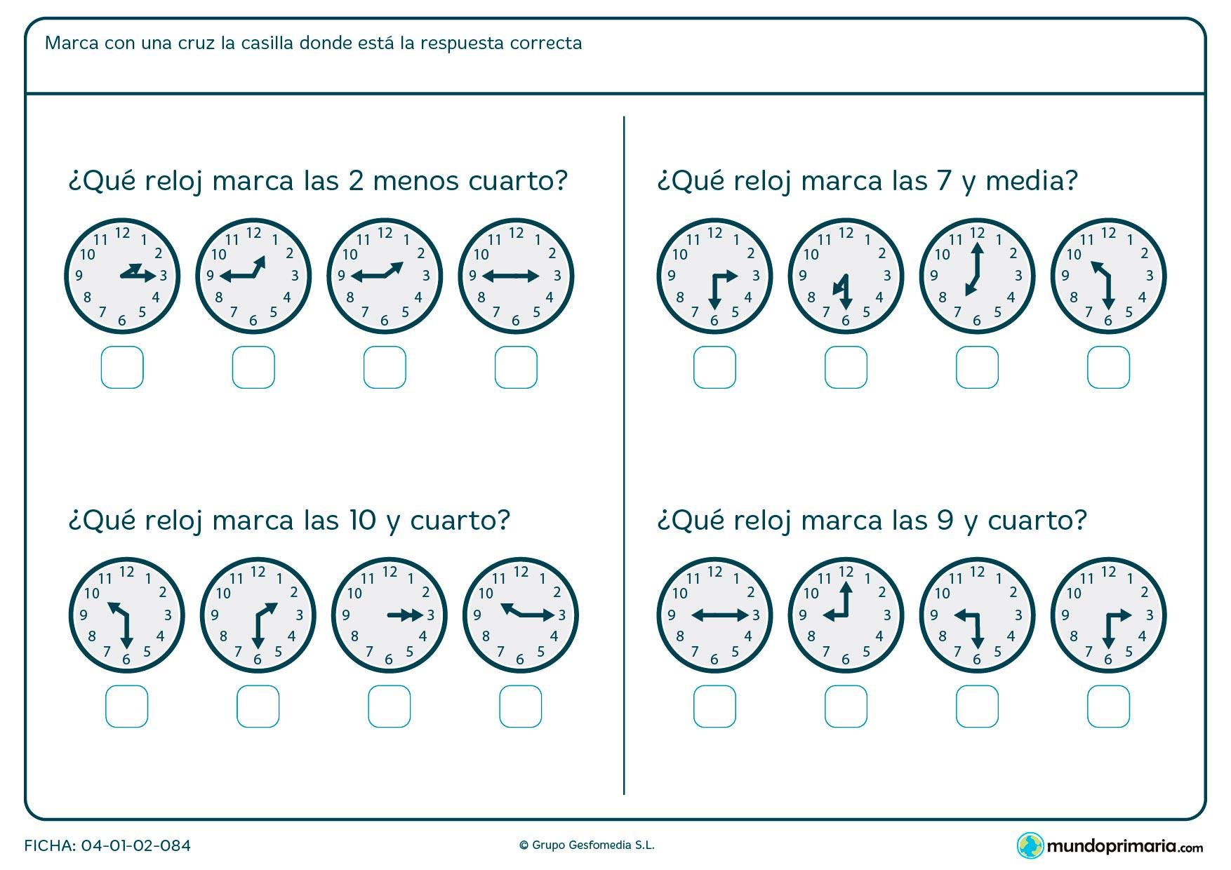 Ficha de horas menos cuarto en la que te damos unas horas que debes marcar la del reloj correcto.