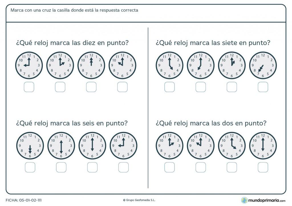 Ficha de horas para primaria