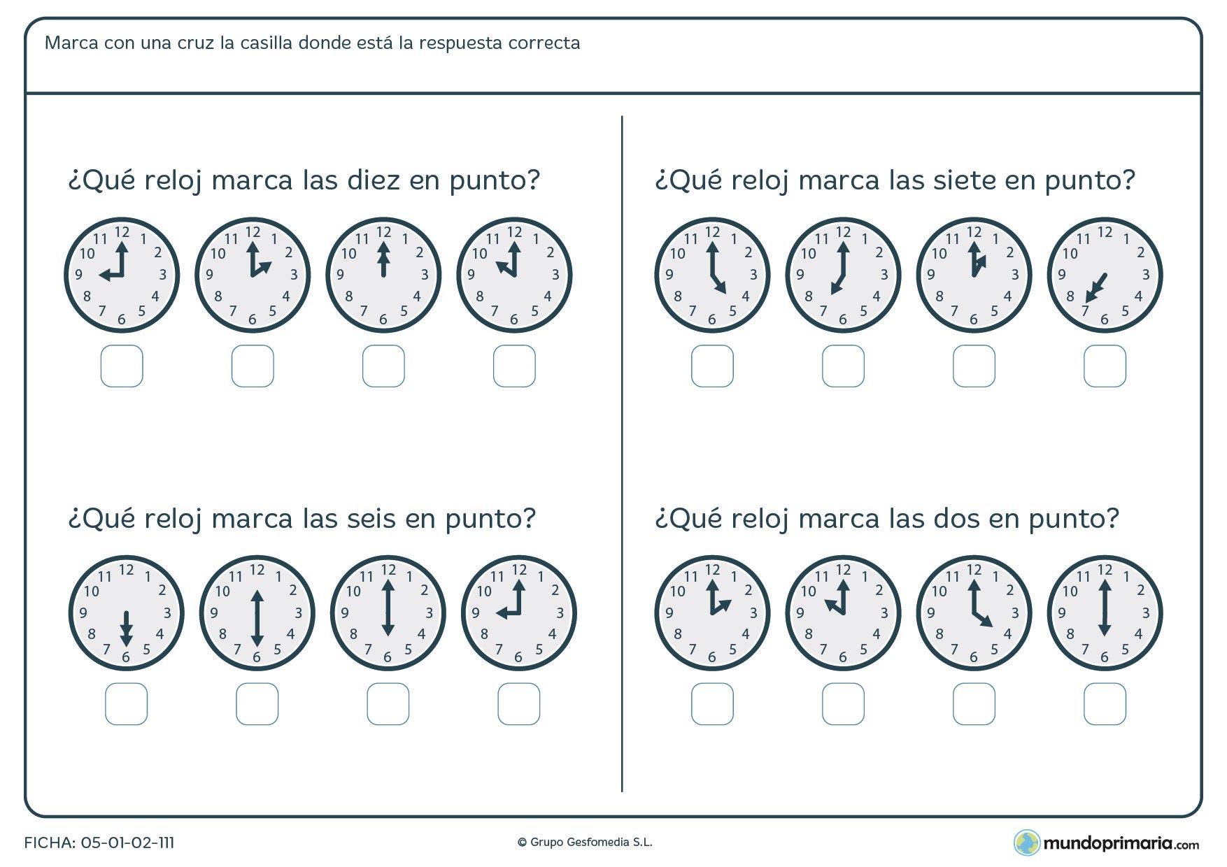 Ficha de horas en punto en la que hay que señalar los relojes que marcan la hora correcta.