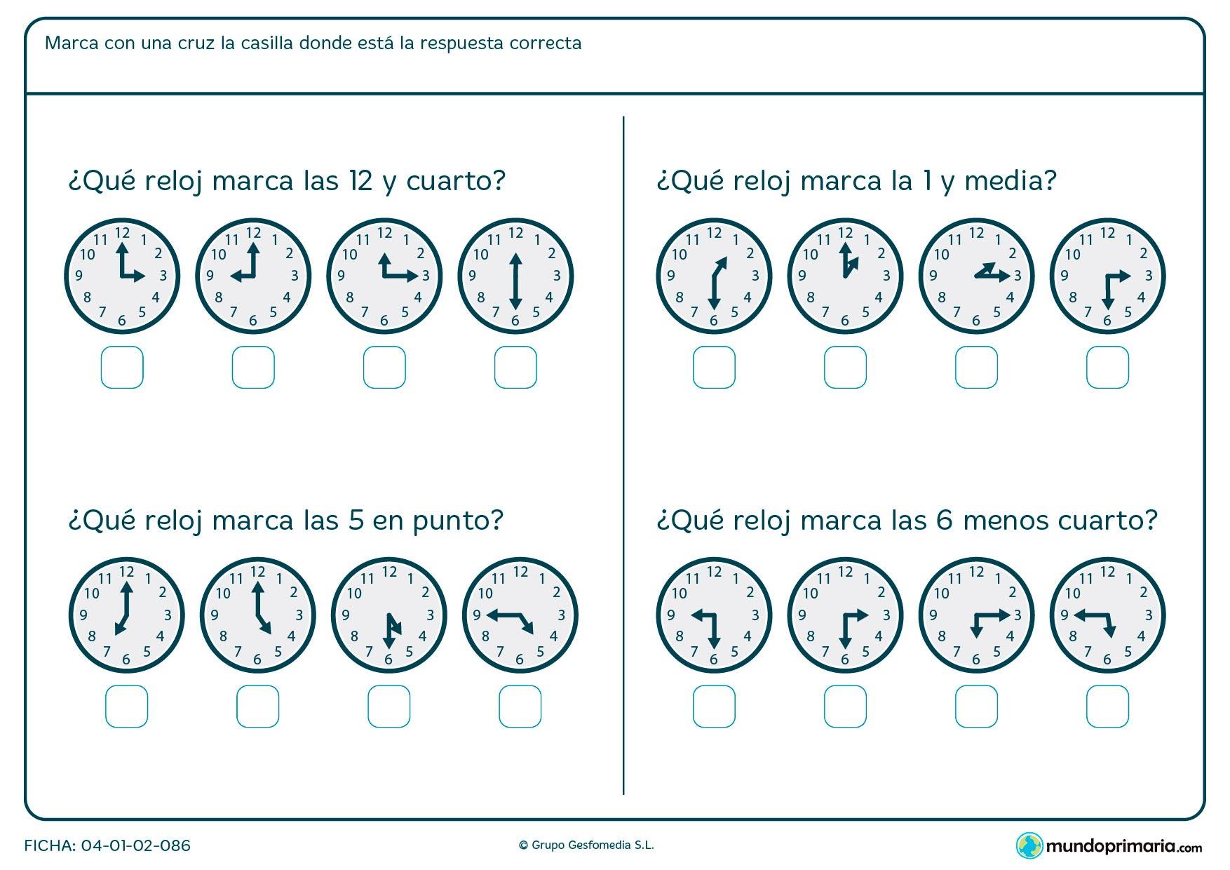 Ficha de horas y cuarto para señalar el reloj analógico que sea correcto.