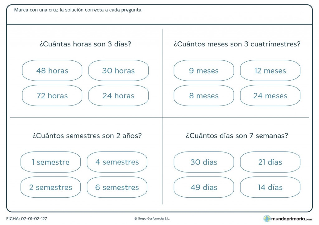 Ficha de horas y días para niños de primaria