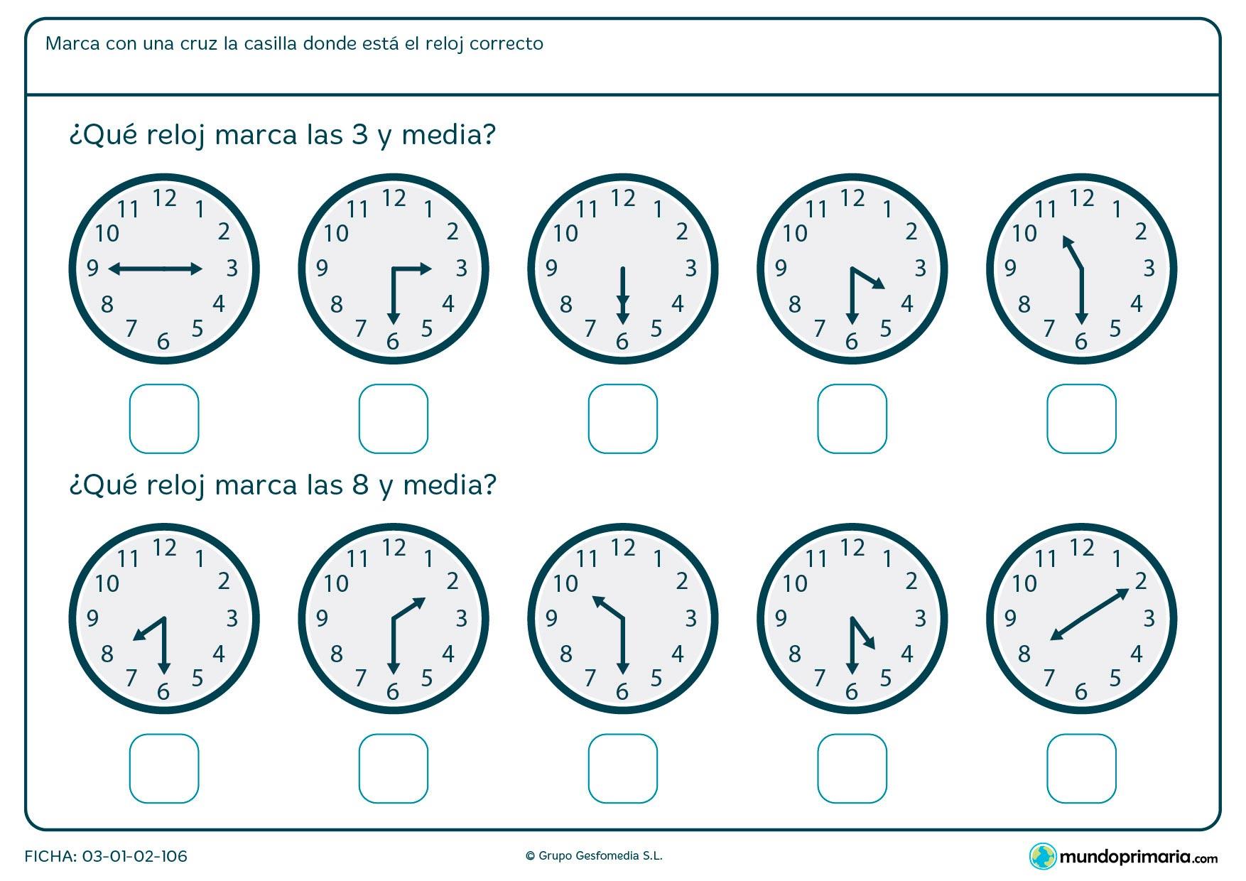 Ficha de horas y media en la que tendrás que señalar los relojes que marcan las 3 y media y las 8 y media.