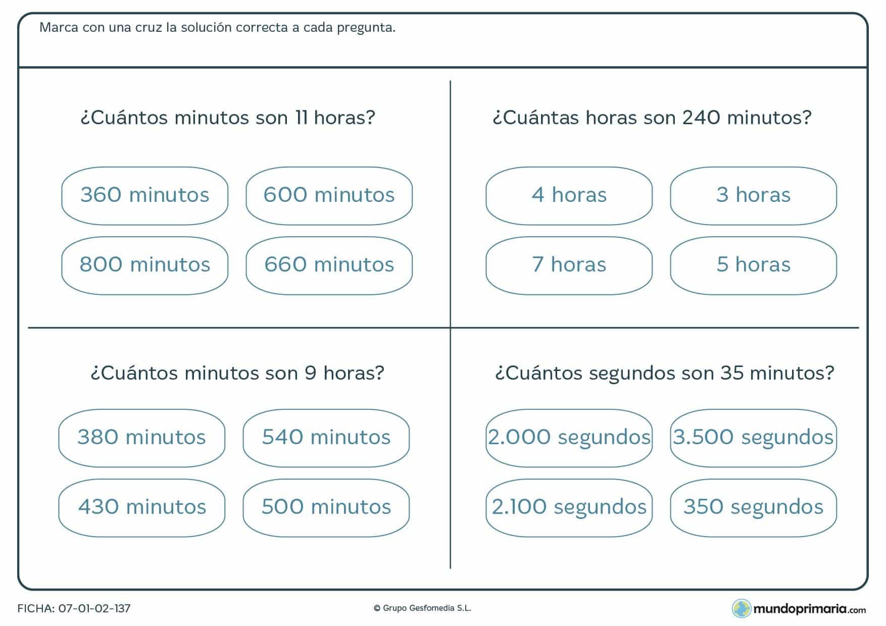 Ficha de horas y minutos, resuelve las horas de x minutos o los minutos de x horas.