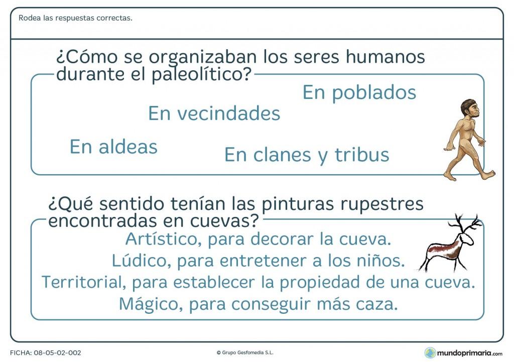 Ficha de humanos en el paleolítico para primaria