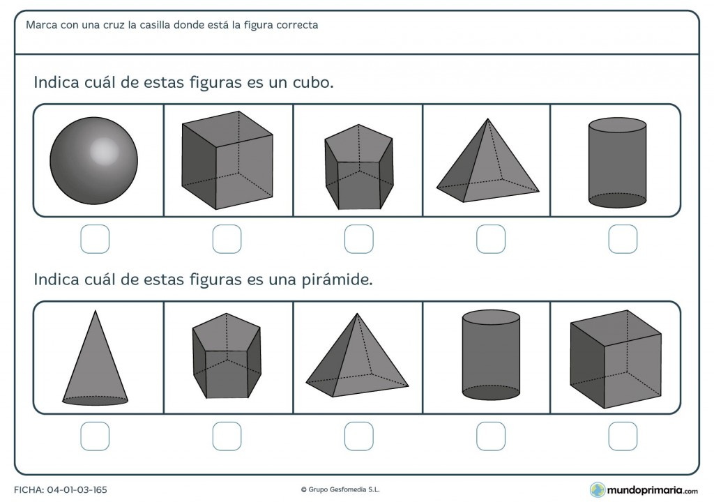 Ficha de identificar cubo para niños de 7 años
