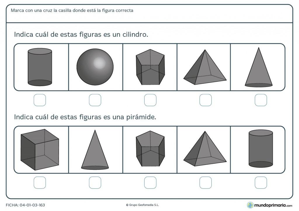 Ficha de identificar cuerpos geométricos para 2º de primaria
