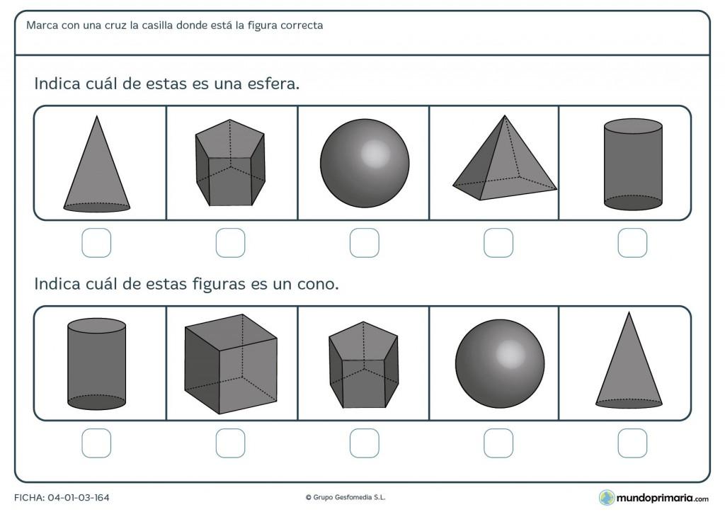 Ficha de identificar esfera para primaria