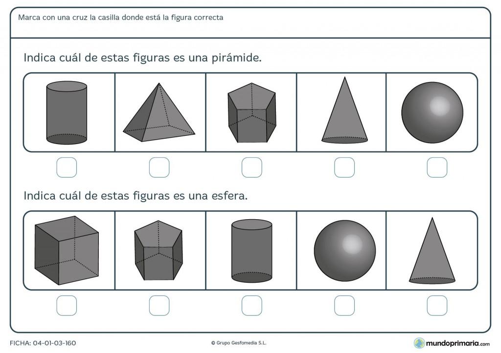 Ficha de identificar pirámide para niños de primaria