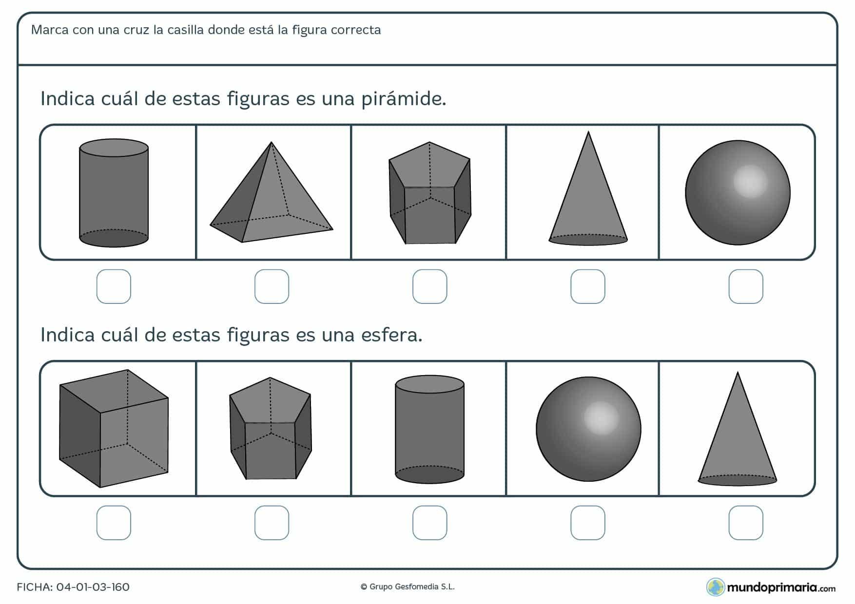 Ficha de identificar una pirámide y una esfera entre varios cuerpo geométricos distintos.