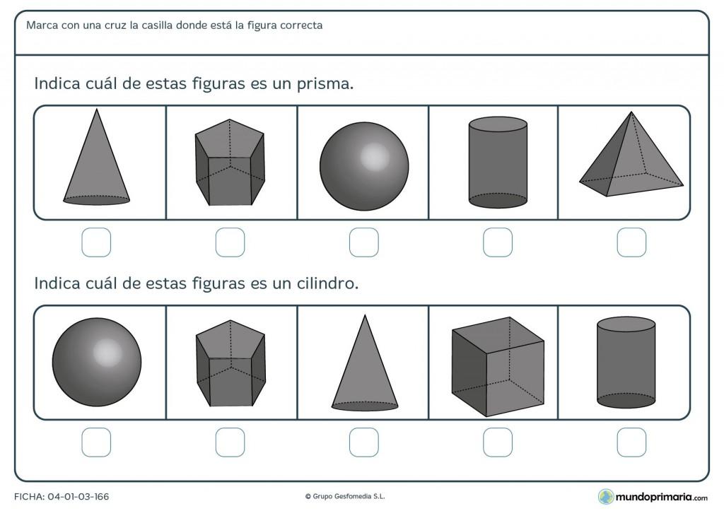 Ficha de identificar prisma para primaria