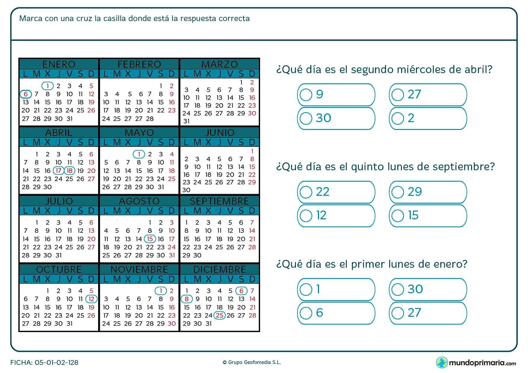 Ficha de interpretar calendario en el que debes decir que número de día es el que cae en un lugar concreto del calendario.