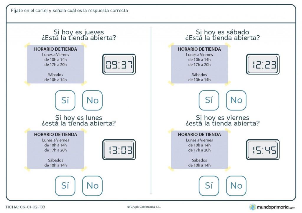 Ficha de interpretar horarios para primaria