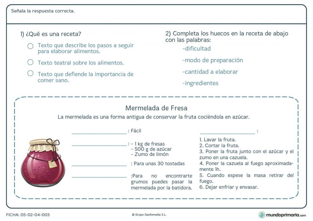 Ficha de interpretar una receta para primaria