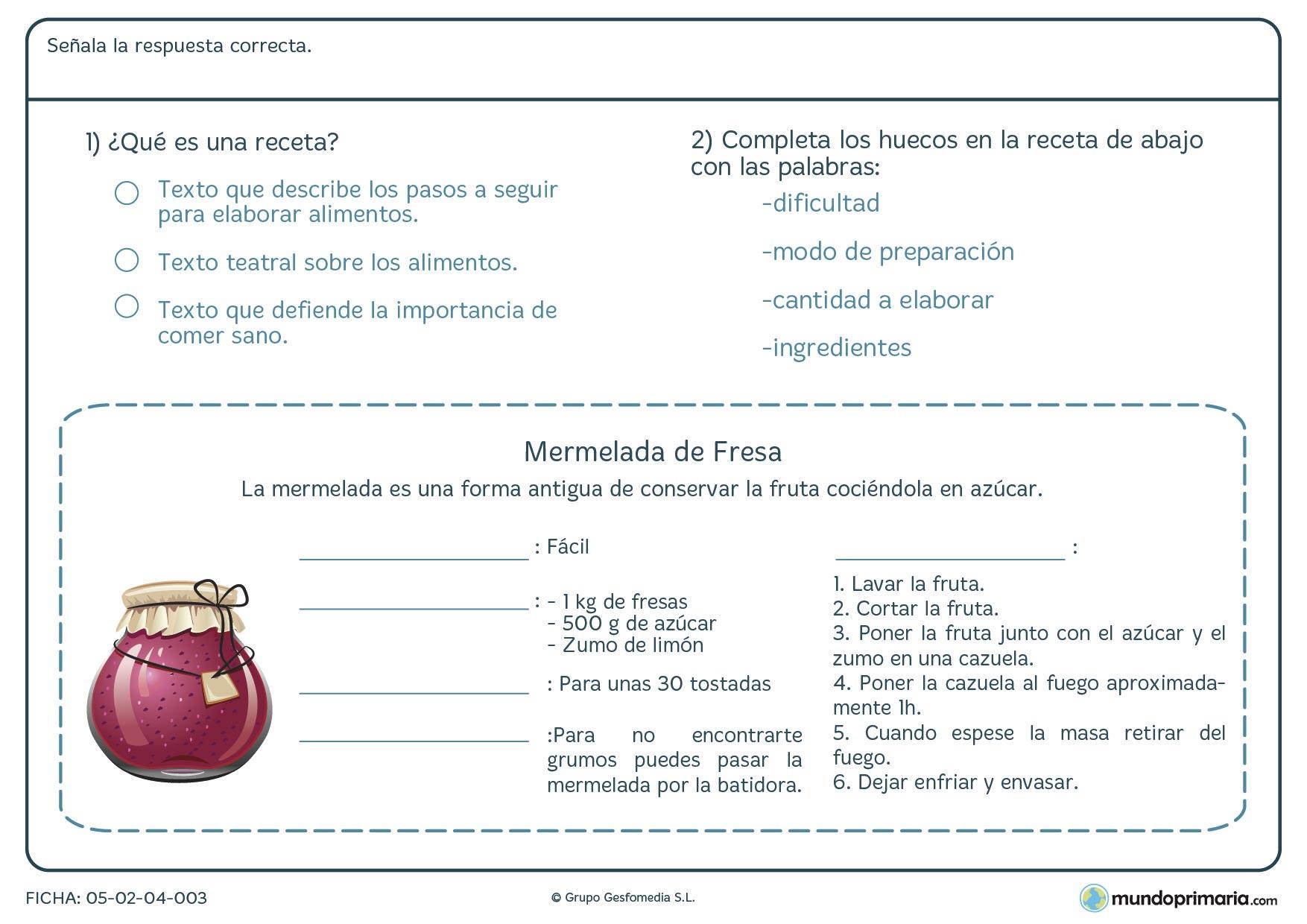 Ejercicios comprensión lectora lengua para tercero primaria
