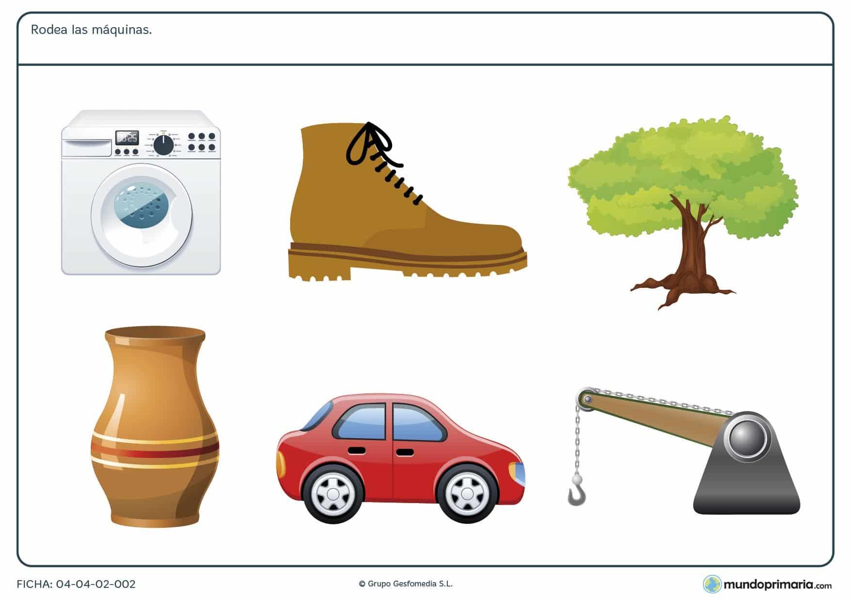 Ficha de inventos para trabajo en la que ha de encontrar las máquinas entre un grupo de imágenes.