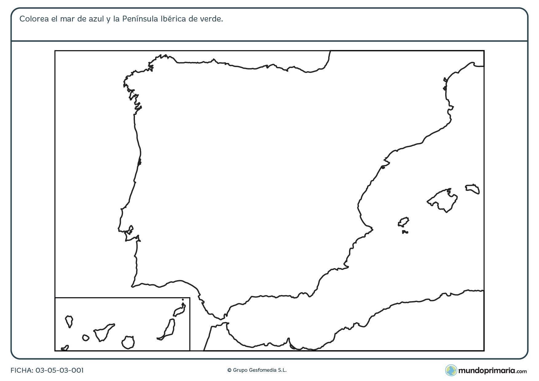 Ficha de la Península Ibérica en la que deberás colorear lo que se te pide.