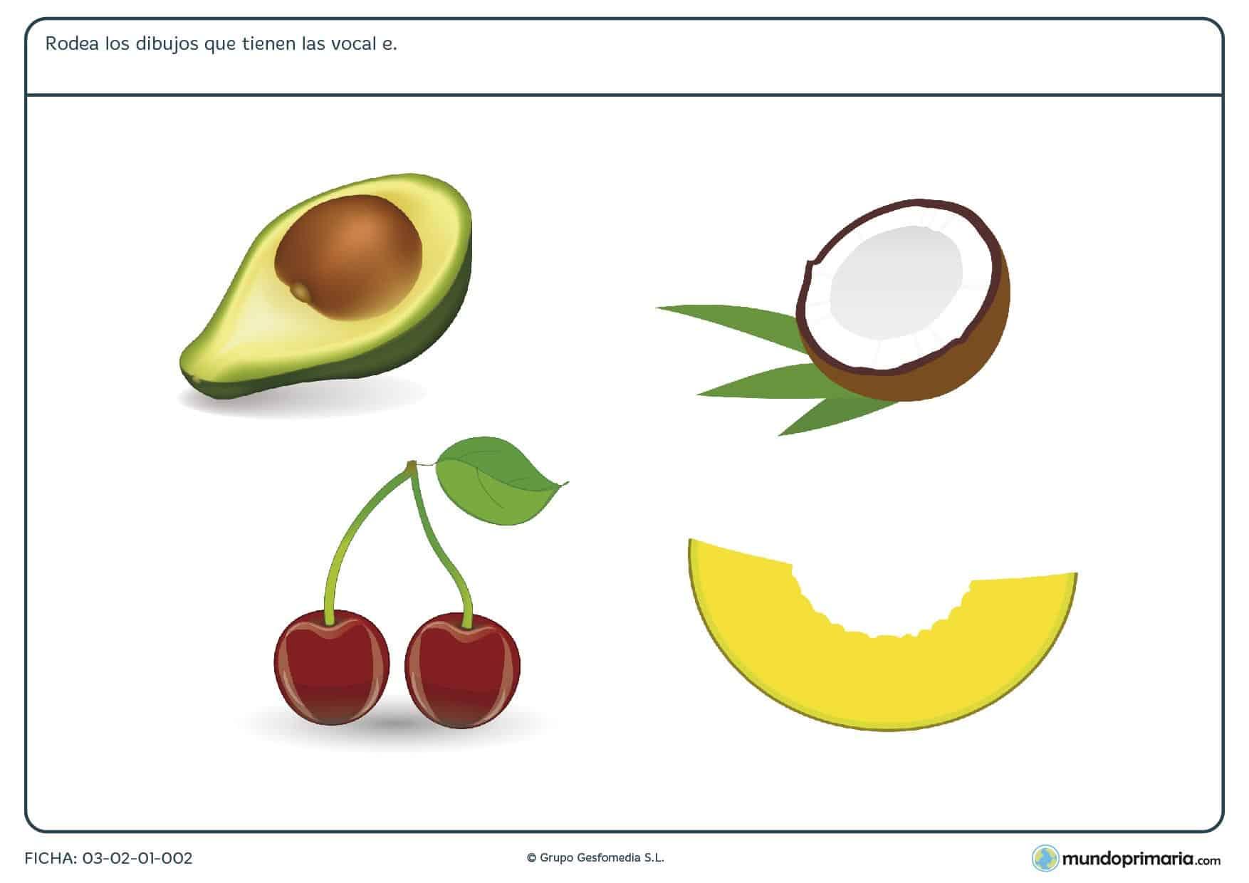 Ficha de la e para repasar las vocales. La vocal e para niños de primaria en una ficha de la vocal e para niños