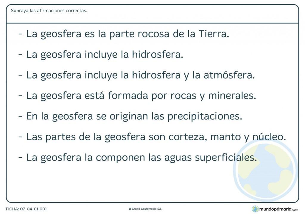Ficha de la geoesfera para primaria