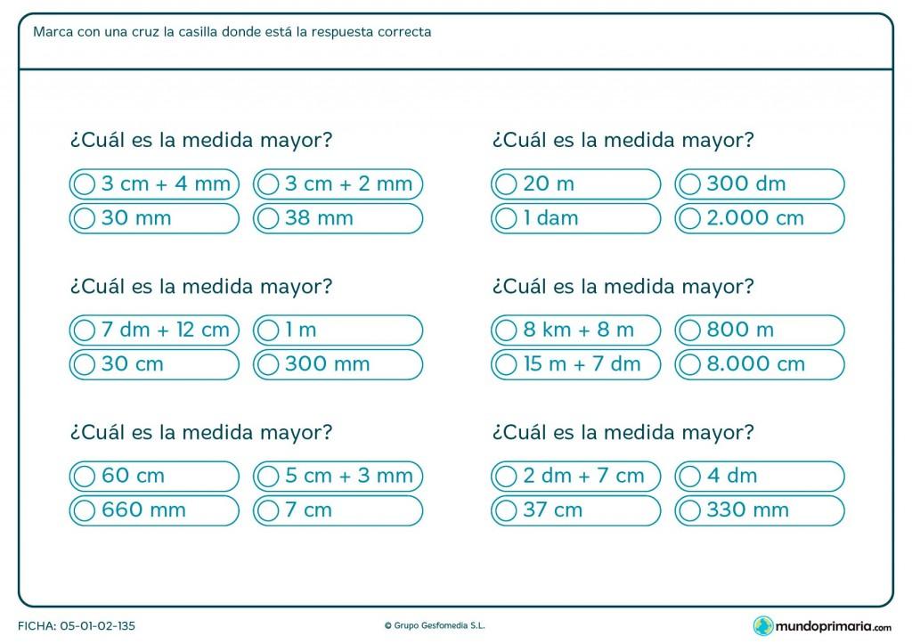 Ficha de la medida mayor para primaria