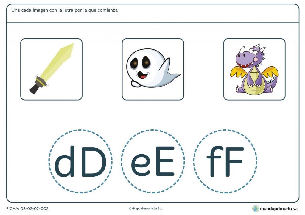 Ficha de la primera letra de cada palabra para 1º de primaria
