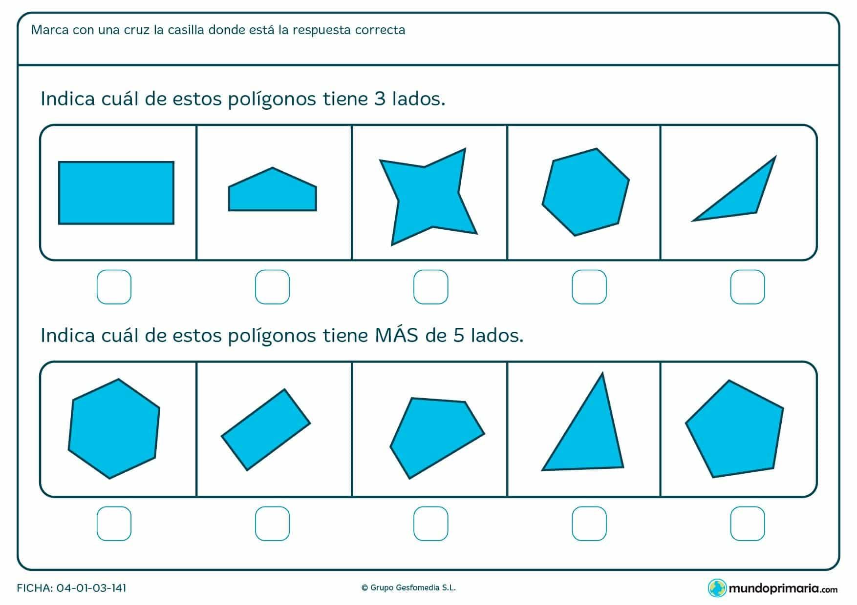 Ficha de lados de polígonos en la que deberás señalar los que tengan los lados que te pedimos.
