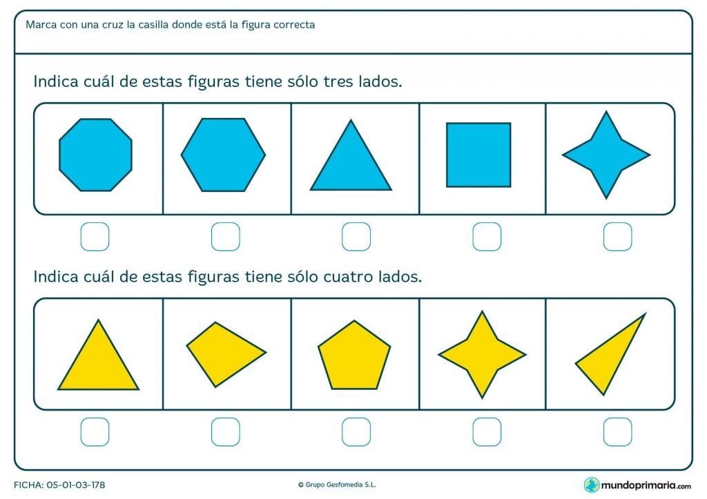 Ficha de lados geométricos para primaria