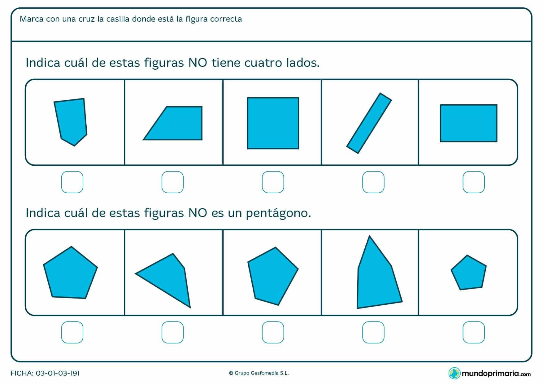 Ficha de lados para niños de 6 a 7 años que tienen que reforzar conocimientos básicos de primaria