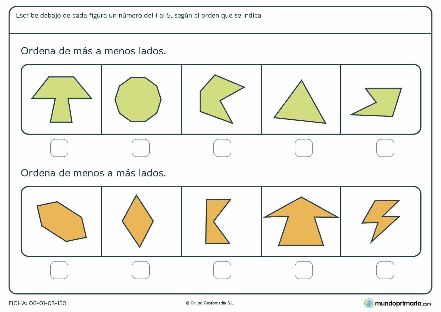 Ficha de lados de figuras geométricas y su ordenamiento según su número de lados.