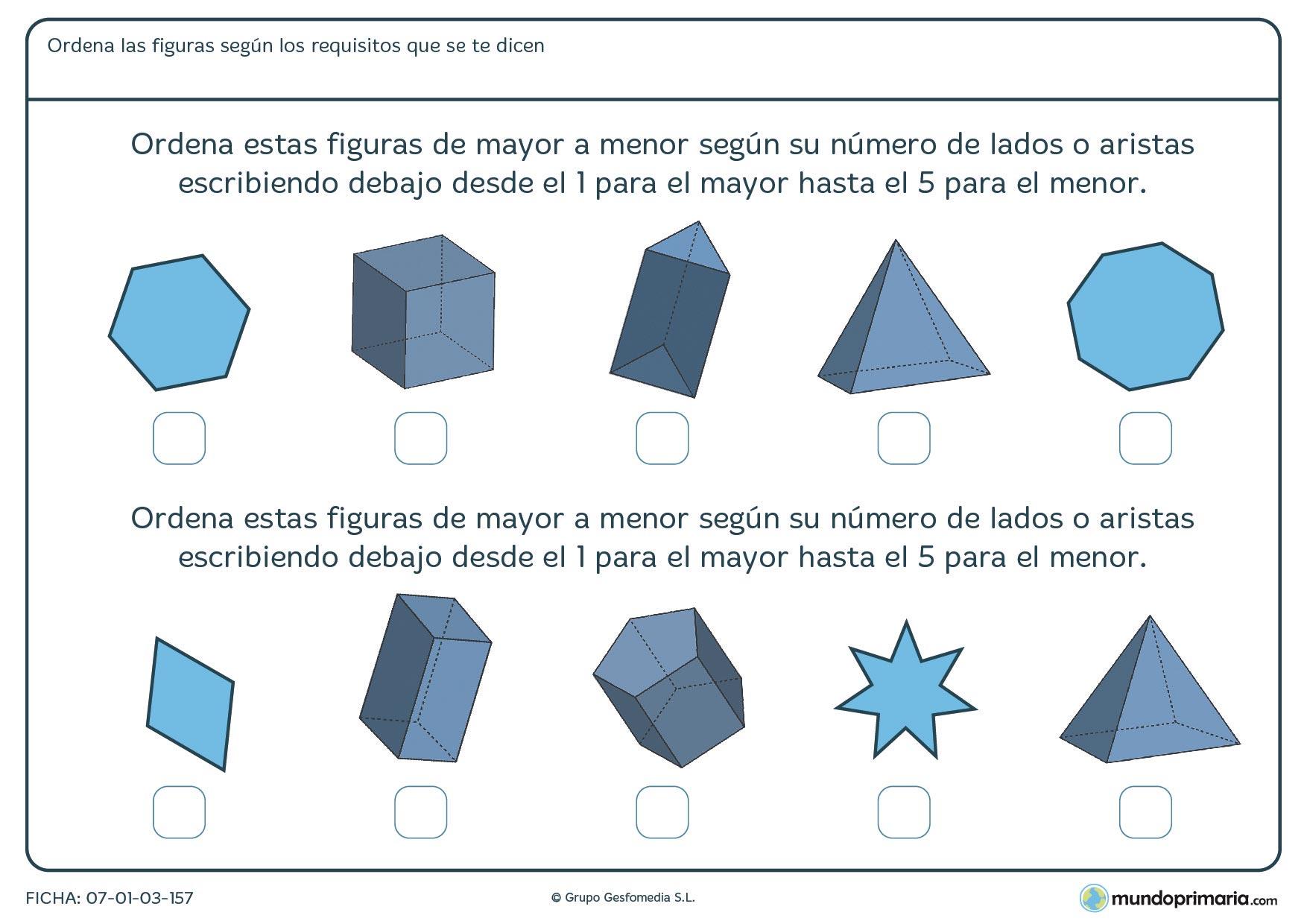 Geometría ejercicios quinto primaria