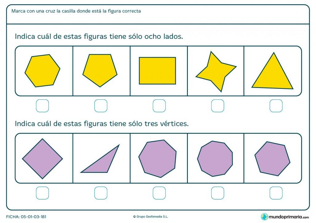 Ficha de lados y vértices geométricos para primaria