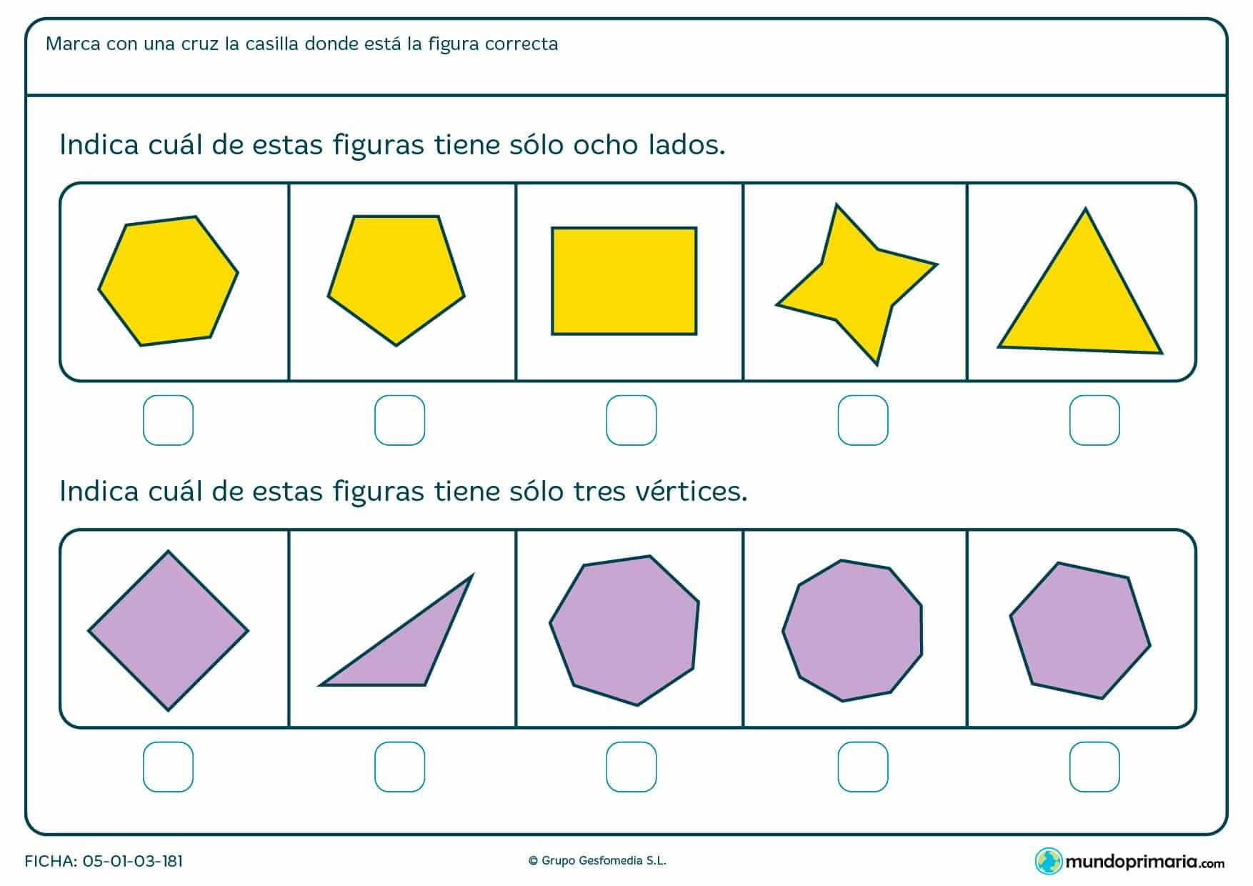 Ficha de lados y vértices geométricos. Cuéntalos y señala la figura que correponde como respuestra a la pregunta.