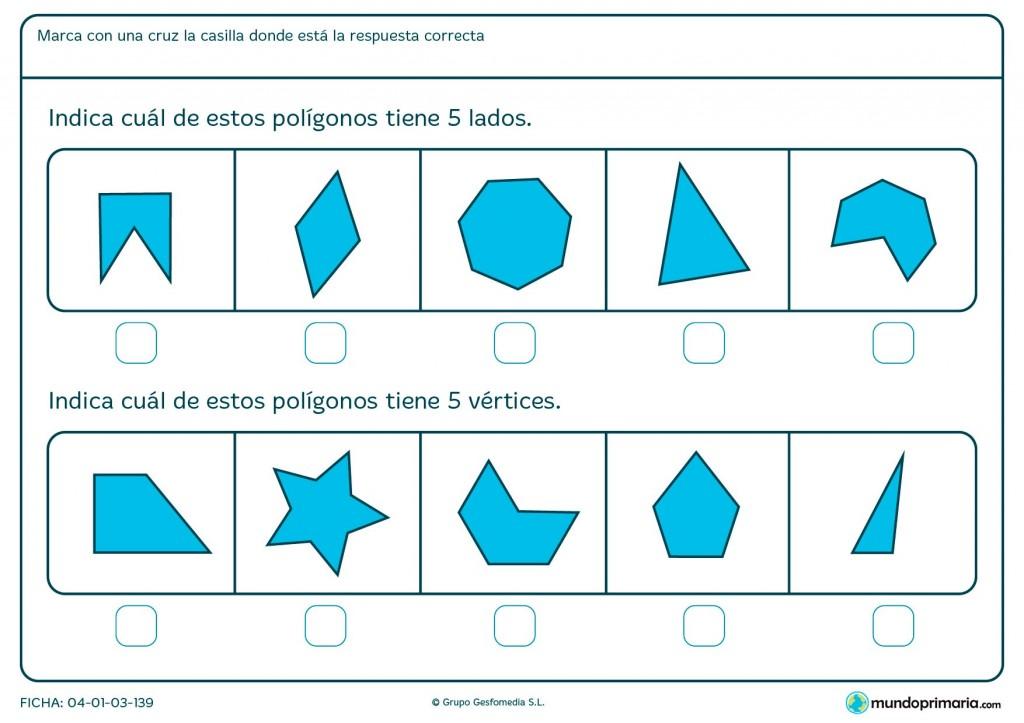 Ficha de lados y vértices para primaria