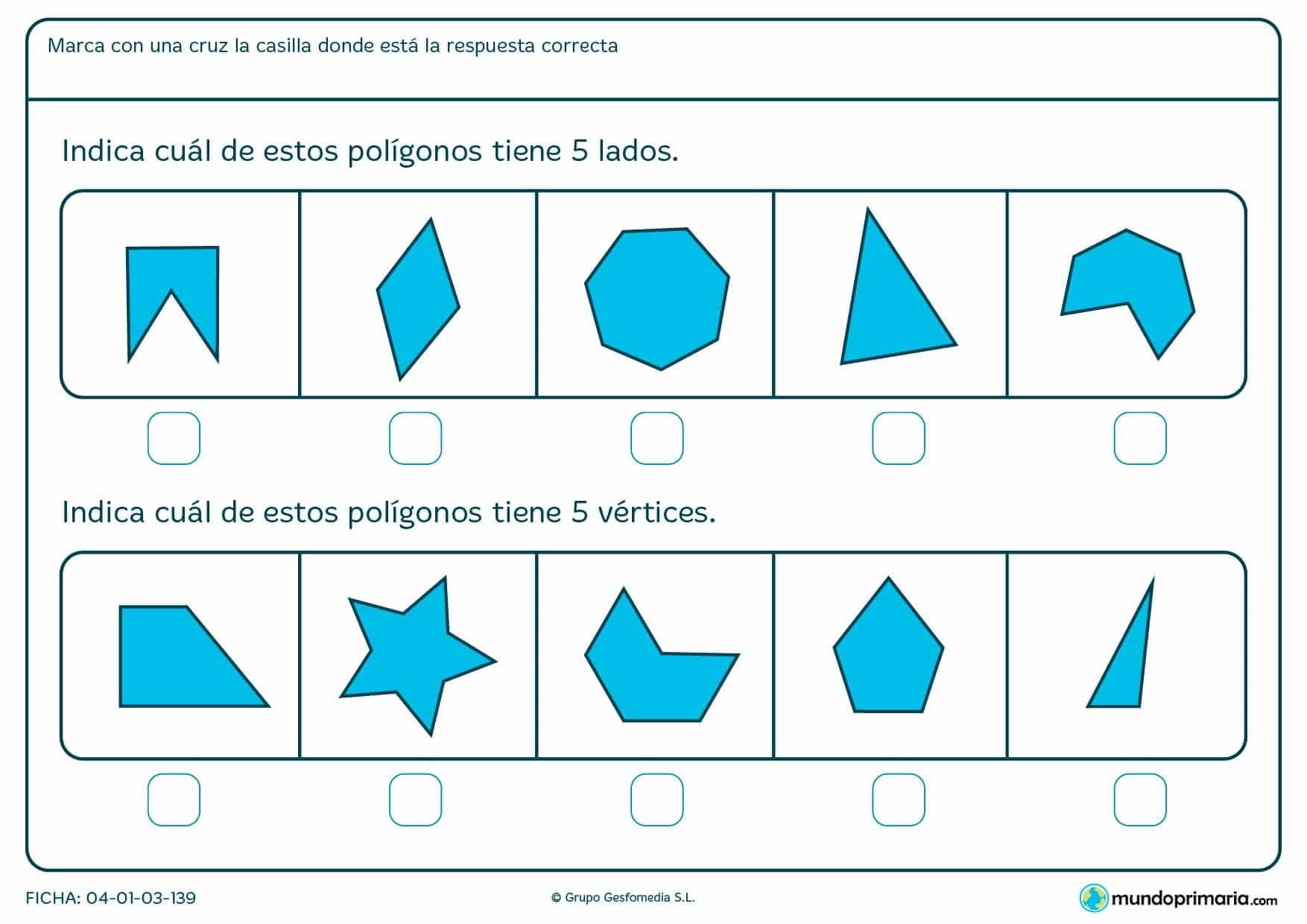 Ficha de lados y vértices en la que has de clasificar unos polígonos según su número de lados o de vértices.