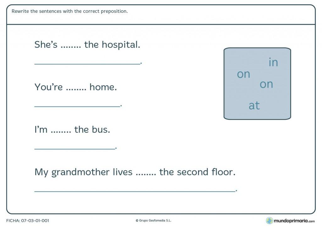Ficha de las preposiciones en inglés para quinto de primaria
