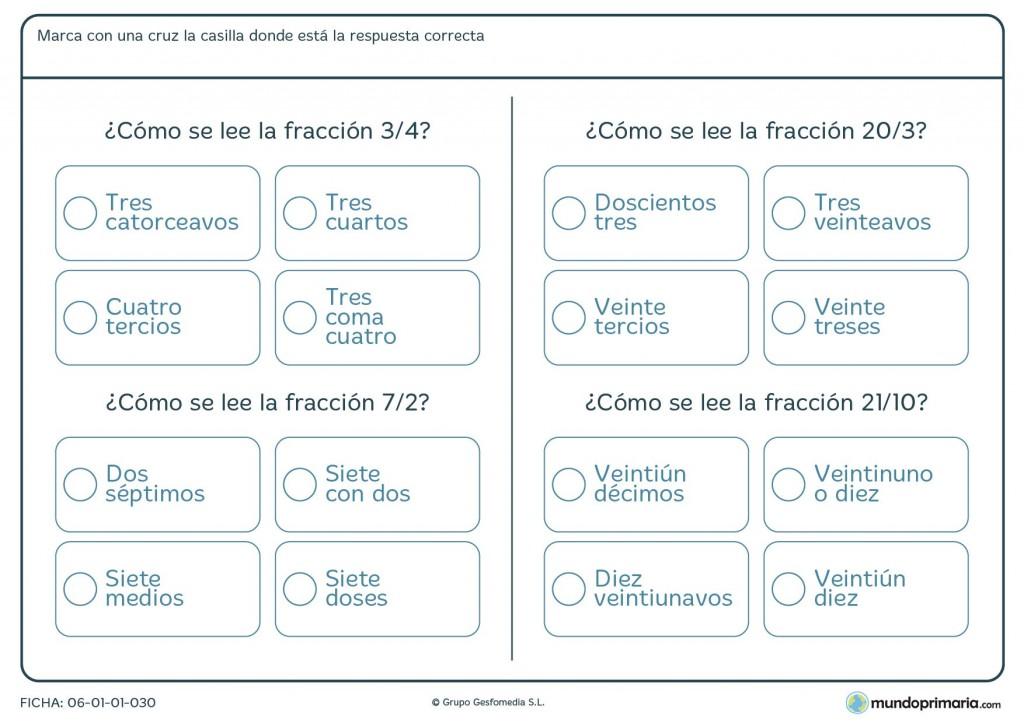 Ficha de lectura de fracciones para niños de primaria