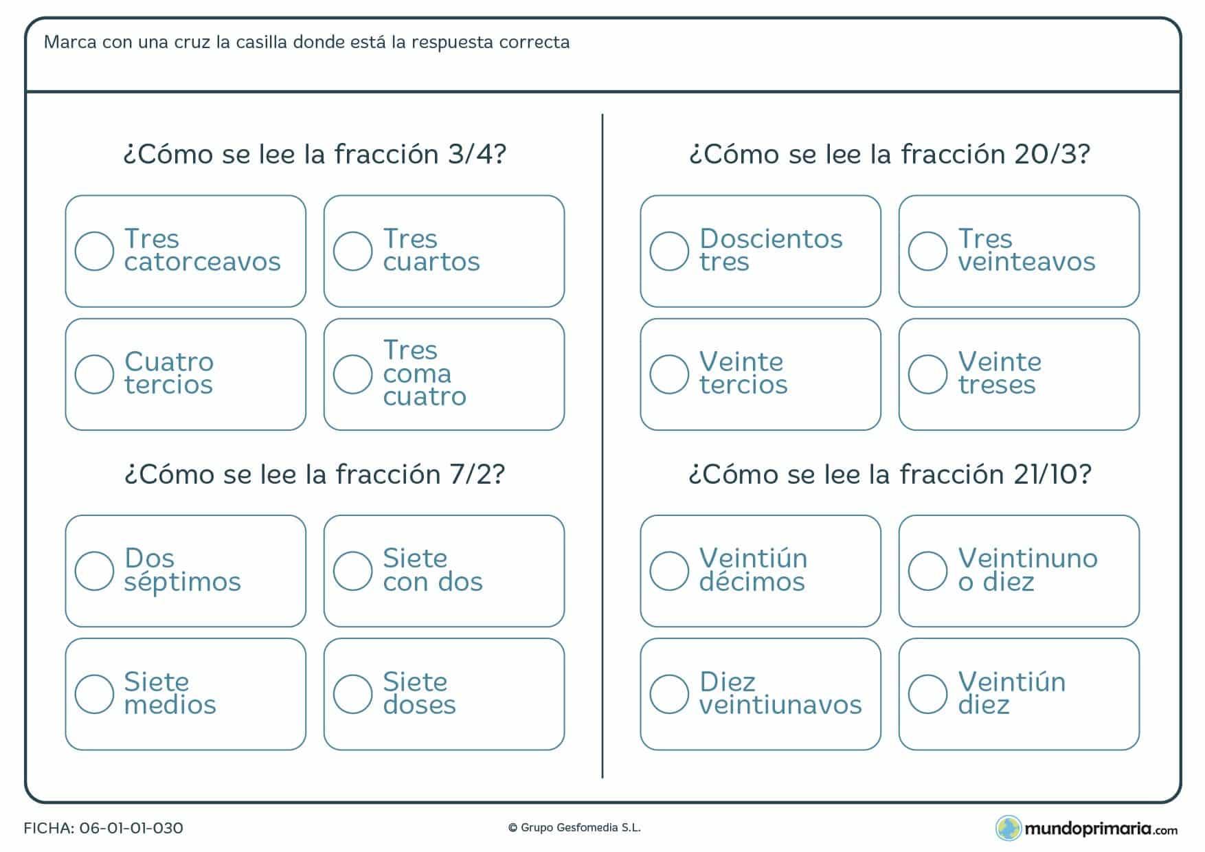 Ficha de lectura de fracciones en la que has de señalar cuál de ellas es la forma correcta de nombrarla.