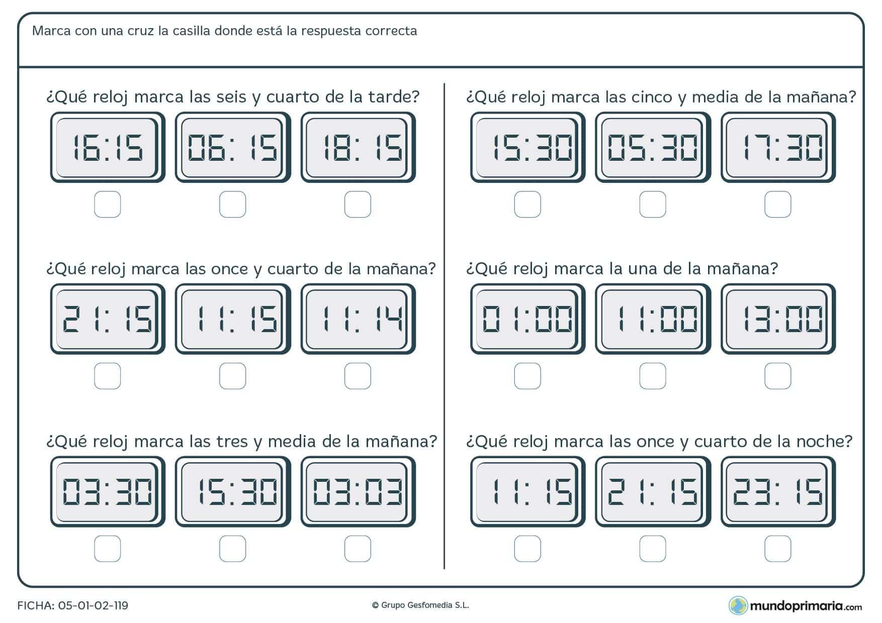 Ficha de lectura de horas. Hay que señalar el reloj digital que indica la hora correcta que te mostramos.