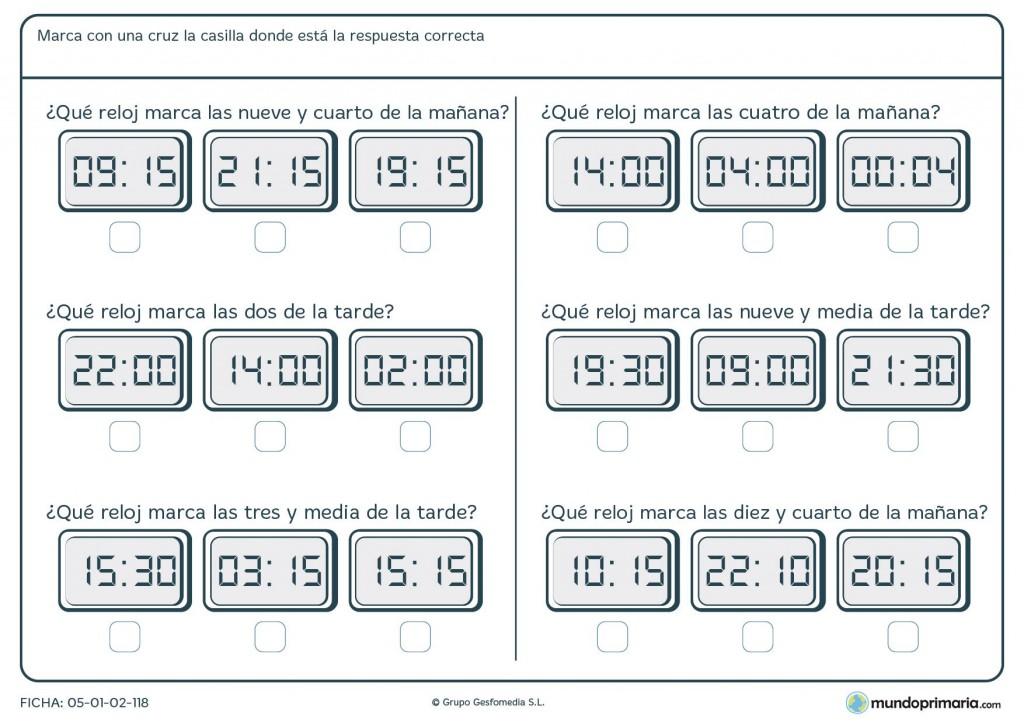 Ficha de lectura de relojes para primaria