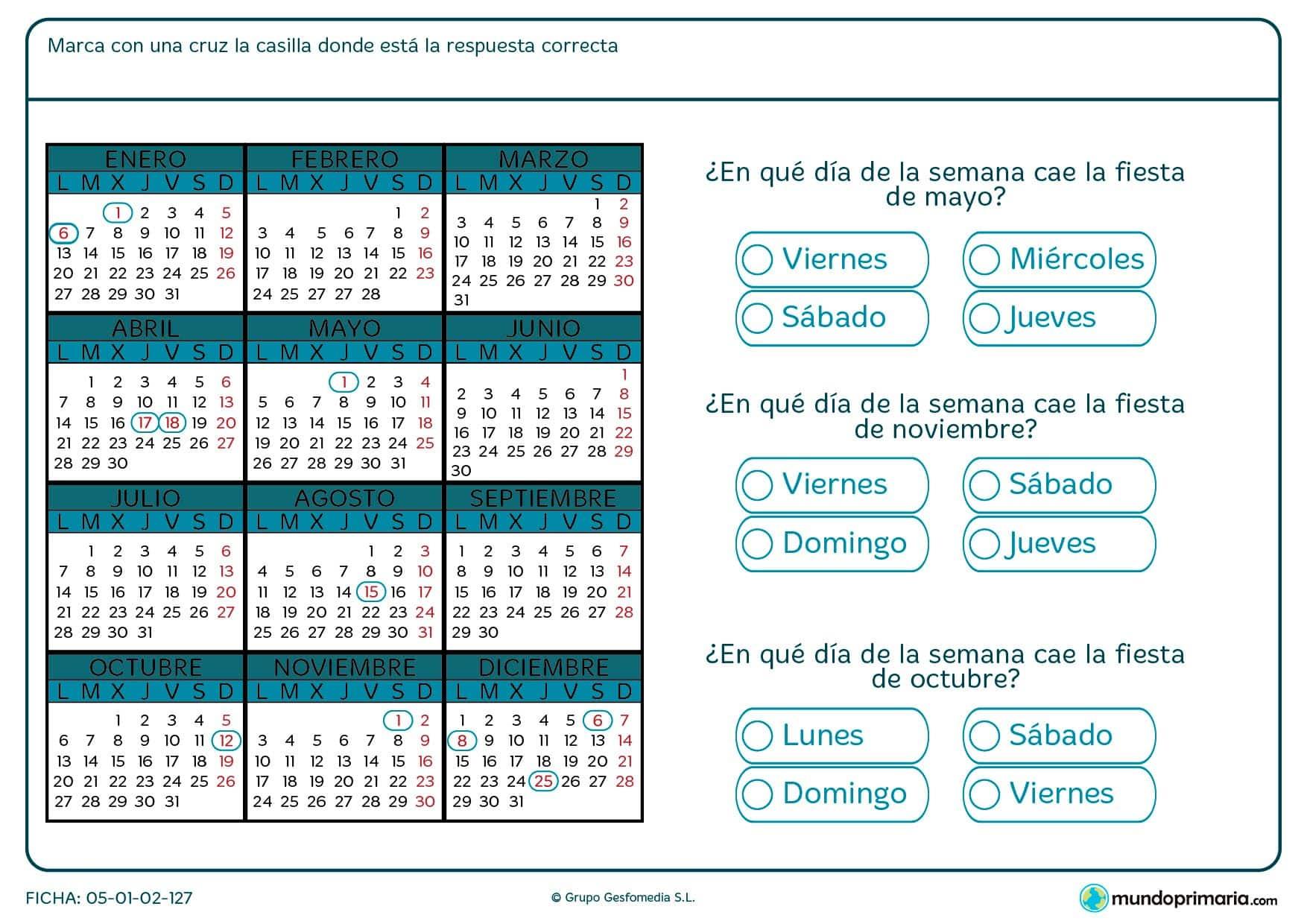 Ficha de leer calendario en la que has de localizar días de fiesta y nombrar la fecha en la que se suceden.