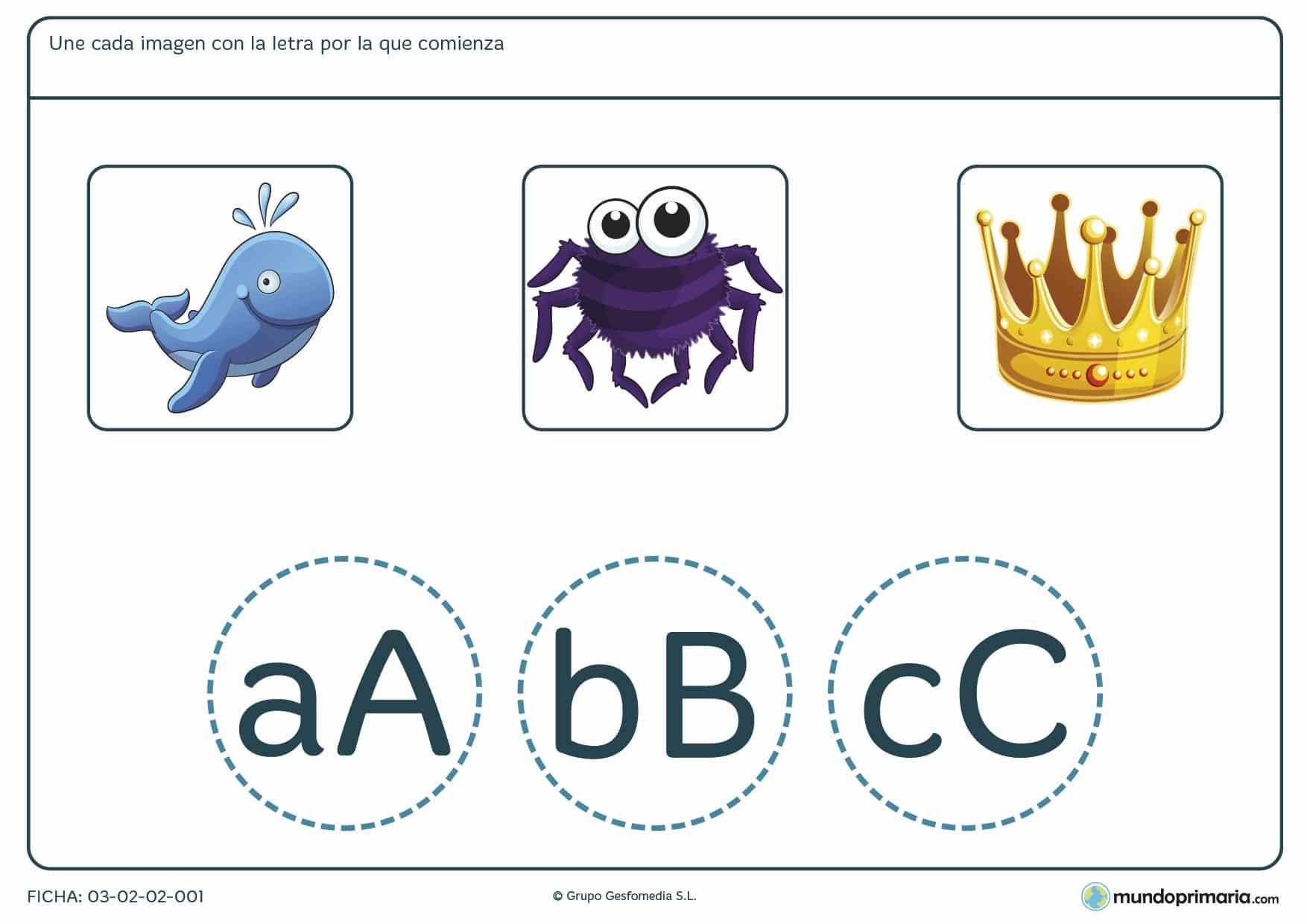 Ficha para niños de primaria en la que aprender las letras capitales de cada palabra con ejercicios didácticos