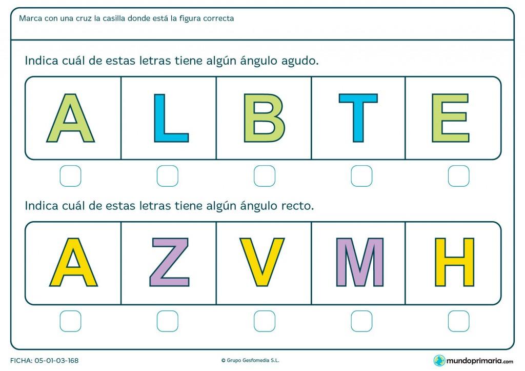 Ficha de letras y ángulos para primaria