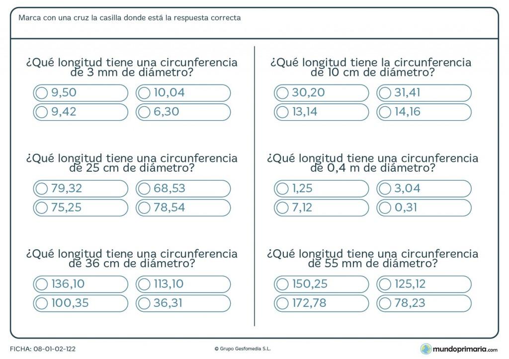 Ficha de longitud de circunferencia para primaria